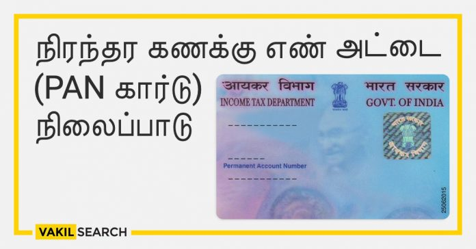 Permanent account number card position