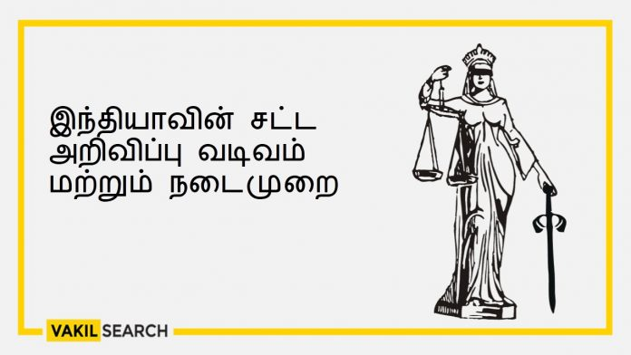 Form and practice of legal notice in India