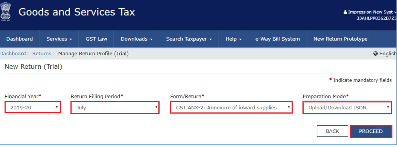 On your dashboard, you will see the relevant tabs to create GST ANX-2 data