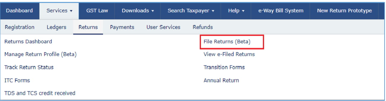 Scroll down to the 'Return under Services' section and select the tab for 'File Returns Beta'