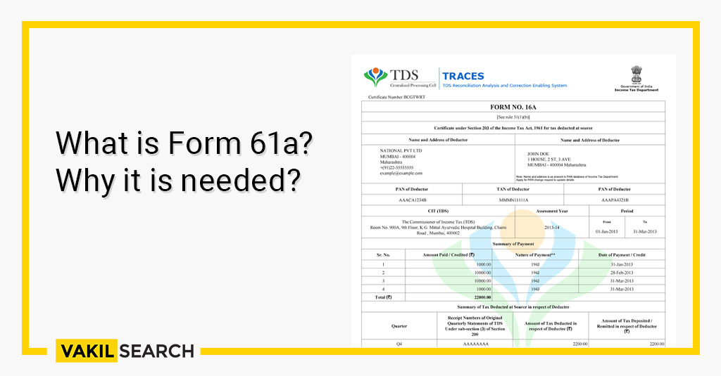 What is Form 61a_ Why it is needed