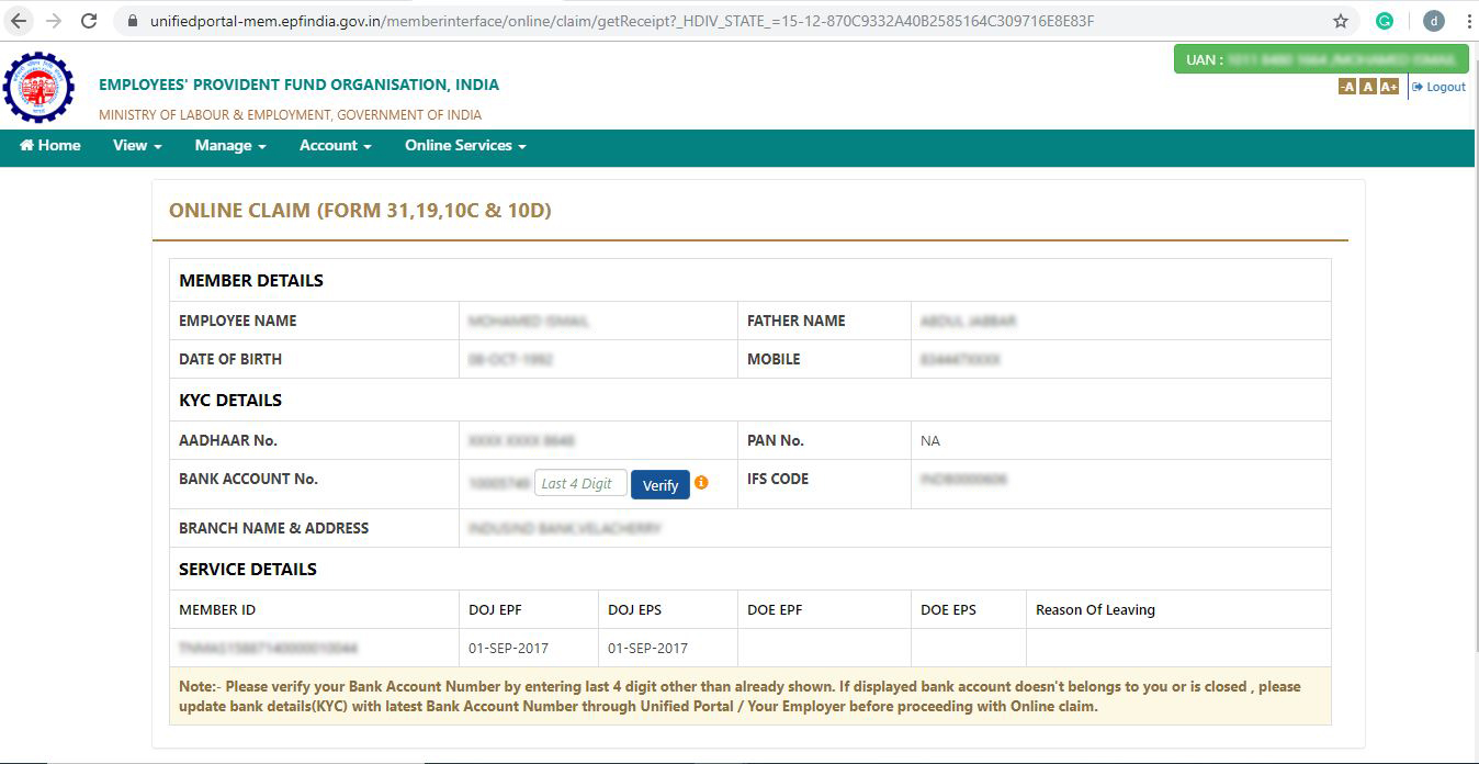 Provident Fund withdrawal online