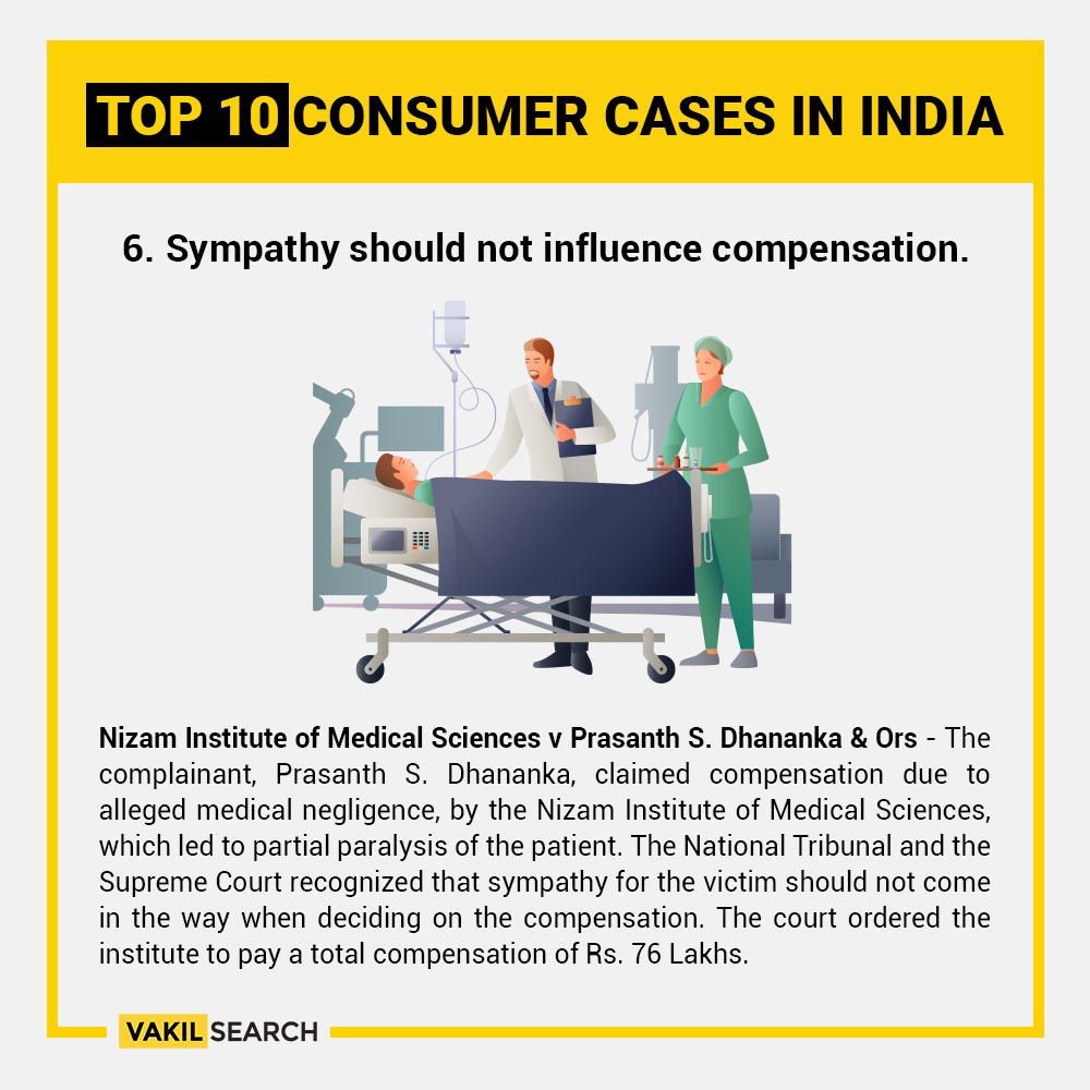 "Nizam Institute of Medical Sciences vs. Prasanth S Dhankara and Others Factual background of the case - This consumer case arises out of a complaint of medical negligence where a 20 year old engineering student was admitted to the Nizam Institute of Medical Sciences (NIMS), after he complained of chest pain. Several tests and X rays were done that revealed a tumour, however it could not be ascertained whether the tumour was malignant or not, therefore, the patient was advised to undergo surgical removal of the same. After the surgery, the patient developed acute paraplegia with a complete loss of control over the lower limbs, and some other related complications that led to urinary tract infections, bed sores etc. The family of the patient held NIMS vicariously liable and the State of Andhra Pradesh statutorily liable (being a government hospital) for the negligence of the doctors concerned. Allegations was primarily levelled against a doctor, Dr. P.V. Satyanarayana for negligence before, during and after the operation. Arguments by the patient's family - The father of the patient, since he was an engineering student, had pleaded with doctors to let him finish his education first before undergoing the operation as there was no emergency or immediate danger to life - There were no pre-operative tests conducted - Operating on the tumour that had neurological implications, there was no neurosurgeon present - Consent was taken only for the tumour excision, however the doctors removed not just the tumour but also surrounding ribs, tumour mass and destroyed blood vessels that led to the condition of paraplegia (paralysis). Supreme Court verdict Consent by patient - The Court trashed the argument by the hospital that since the patient was not conscious - implied consent to operate is assumed to avoid a second additional operation. Negligence by a medical professional - The Court looked at various cases of medical negligence and held that as long as a doctor follows a practice acceptable to the medical profession, he cannot be held liable for negligence merely because a better alternative course or method of treatment was also available. This also includes a scenario where just because a more skilled doctor would not have chosen to follow a practice or procedure which the accused followed. The conduct needs to be judged based on the day of the operation, and not on trial. However, based on the evidence in this case, gross negligence is made out in part of the doctors. Compensation - ""Balance between multiple parties while awarding compensation"" • While holding the doctors of NIMS liable, the court considers the following - compensation for i) present burden of medical expenses, ii) prospective burden of expenses, iii) loss of future earnings, iv) pain, suffering, loss of amenities and enjoyment of life and shortening of life expectancy and v) damages / compensation for father, mother, brother and maternal uncle of the patient who will now be wheelchair bound for the rest of his life. • Under multiple heads cumulatively, the court awarded damages worth ₹ 1 crore. However, the court also rejected some amounts claimed by the patient as unjust - such as ₹2 crores in a deposit form, to be withdrawn if a future medical development allows his condition to improve. • The Supreme Court mentions that award of compensation is a balance between many parties and interests, and sympathy for the patient must not come in way of awarding a fair and adequate compensation."