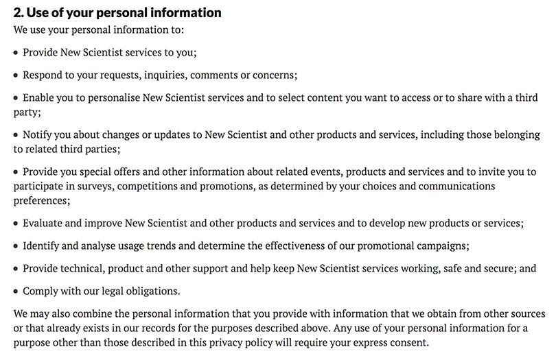 use of personal informatin