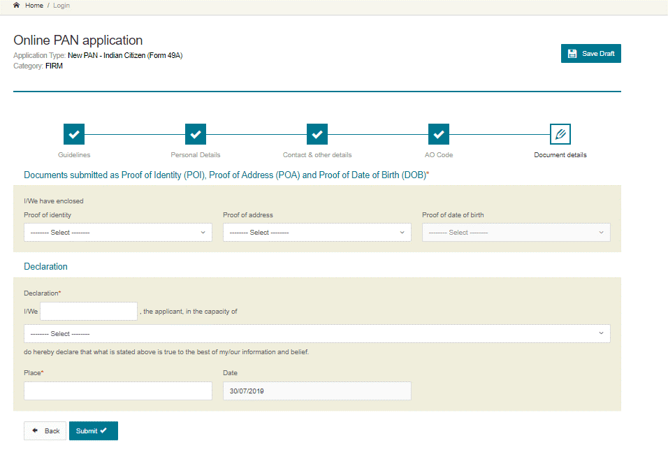 upload the required documents