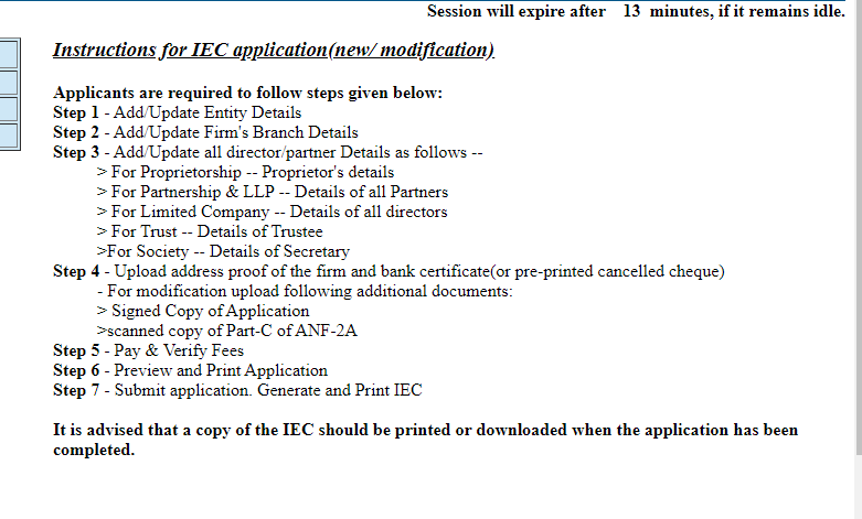 instruction for IEC