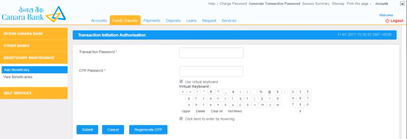Enter your transaction password. An OTP will be sent to your registered mobile.