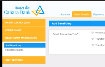 For transferring funds to a new account, click the 'Beneficiary Maintenance' option on the left. Again, click the 'Add Beneficiary' option.