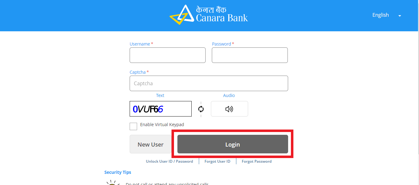 On the resultant screen, enter your Username and password. Enter the captcha before clicking the 'Login' button.