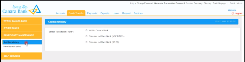 Select the appropriate transaction type as per your need