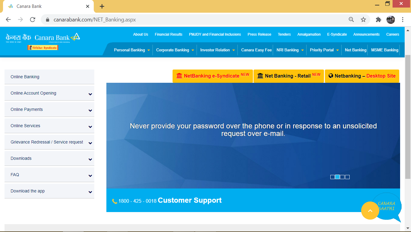 Visit the Canara Bank netbanking site. On the homepage, click the 'Net Banking – Retail' button.