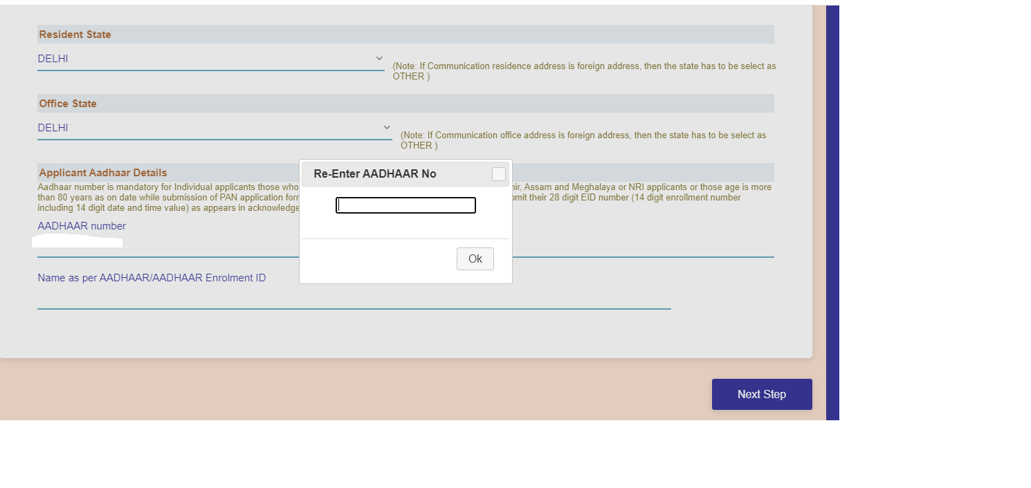 Next, enter your Aadhaar number for verification and click on Next Step to proceed.
