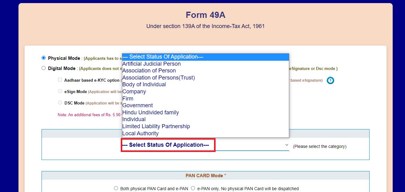 The applicant must now select the appropriate application status